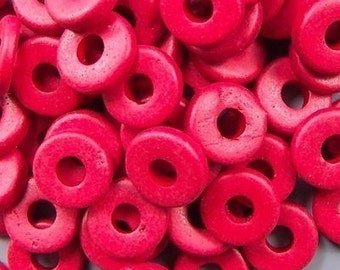Greek Ceramic 8mm Disk Beads Red 16018 Red Disc Beads, Narrow Beads, Spacer Beads, Large Hole Beads, Big Hole Beads, Ceramic Beads