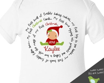 Baby's first Christmas bodysuit - original spiral design for baby boy or baby girl's 1st Christmas