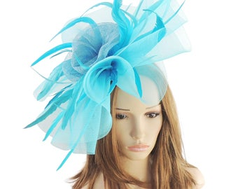 Turquoise Mud Pie Fascinator Hat for Weddings, Races, and Special Events With Headband (in 20 Colours)