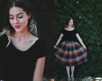 Vintage 1950s Sue Mason Jr by Saba of California XS / small black velvet + pleated plaid dress - full skirt -