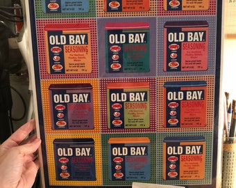 """Old Bay Warhol Inspired Print with 2 Dollar Shipping 18"""" x 12"""""""