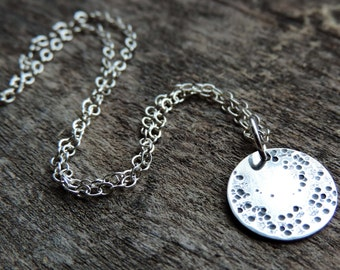Sterling Silver Full Moon Charm Pendant Necklace | Cozmoz Collection | Crescent Moon, Lunar, Astrology, Craters, Oxidized, Made to Order