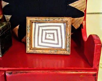 Small Vintage Framed Ticking Quilt Sample