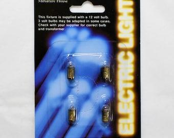 12 volt dollhouse miniature screw base bulbs, Miniature House set of 4, dollhouse lighting bulbs, replacement miniature bulbs