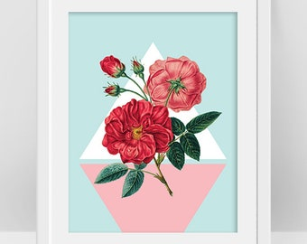 Red Flower Print, Mid Century Modern Wall Art, Vintage Botanical Print, Red Rose, French Country Decor, Digital Download, Retro Flower Image