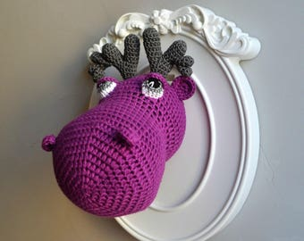 Purple trophy crocheted reindeer head