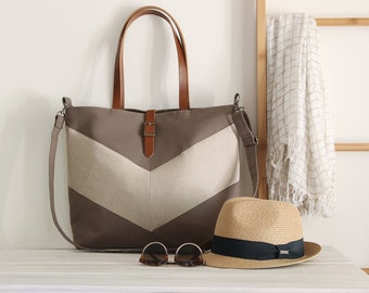 LARGE, Linen chevron, Choco Brown tote / diaper bag / shoulder bag.  9 inside pockets. Waterproof poly lining available