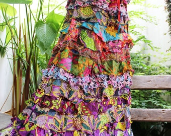 ARIEL ON EARTH - Patchwork Floral Printed Cotton Ruffle Tiered Skirt - SH1710-09