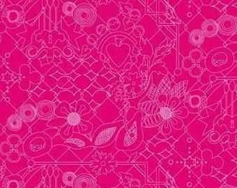 SUN PRINTS cotton fabric patchwork AMARANTH pink x50cm