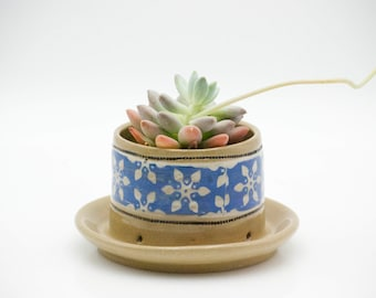 Desk planter gift - Ceramic planter - Planter with dish - Rustic planter pot - Modern planter - Succulent planter - Indoor garden gift