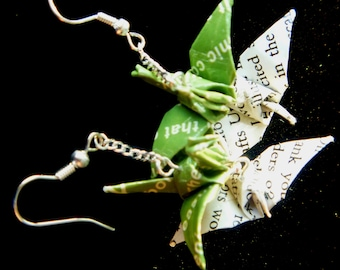 Unique Double-Pair of Origami Crane Earrings –FREE SHIPPING– green & white recycled-upcycled-reclaimed-renewed-repurposed paper #e809