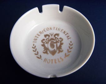 Hotel Ashtray INTERCONTINENTAL GENEVA, Schonwald Porcelain Germany, Mid Century