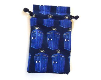 XL Tardis Drawstring Dice Bag for Cell phones, Nintendo DS XL, Dice, cards, or anything!