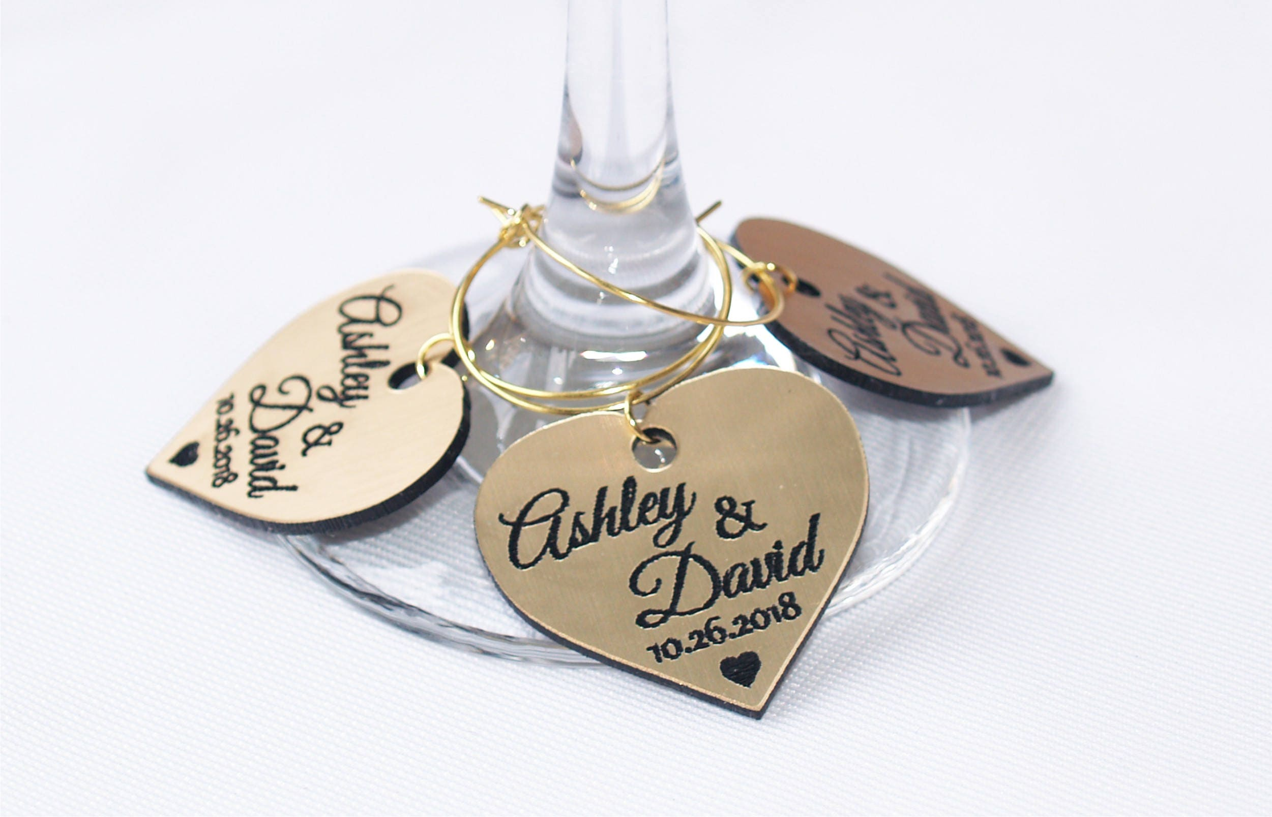 Wedding wine charms, Anniversary wine charms, Wine glass charms ...