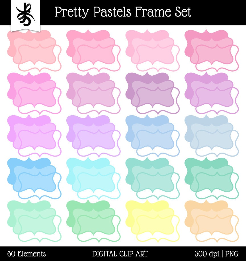 Digital Clipart Frames-Pretty Pastels-Frames-Text