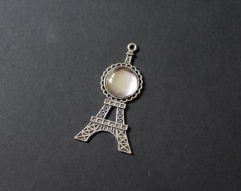 Kit holder silver pendant / cabochon glass silver Eiffel Tower / Paris