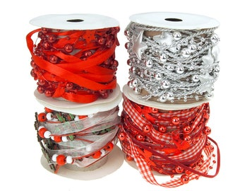 Christmas Cutouts Bead and Ribbon Garland, 5 Yards