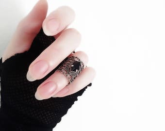 Gothic Ring Gothic Jewelry Black Knuckle Ring Victorian Ring Silver Black Swarovski Crystal Ring