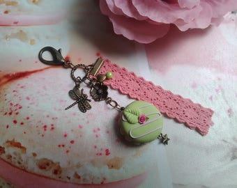 Bag charm / Keyring fimo macaroon pistachio/pink / bronze / gift idea