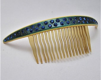 Vintage Celluloid Comb with Blue Rhinestones. It Measures Over 4 Inches Long. (D26)