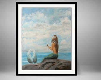 Framed mermaid art, ready to hang mermaid wall art, mermaid gift, mermaid decor,  painting by Nancy Quiaoit