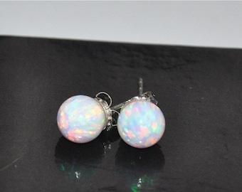 Opal Earrings,  Stud Earrings,  Sterling Silver Earrings, 8mm Ball Opal, 925 Sterling Silver,  White Opal,  ON SALE