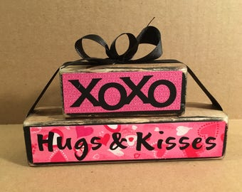 XOXO, Hugs, Kisses, Valentine's Day wooden block set, Love