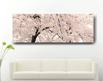 Extra large wall art, panoramic canvas wall art oversized, tree canvas art 20x60, pale pink Cherry Blossom art canvas wrap, over bed decor