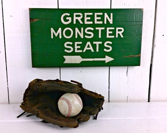 "8"" x 15.5"" Green Monster Seats - Boston Red Sox - Fenway Park -  Distressed Wood Sign"