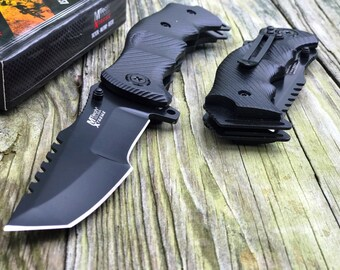 """9"""" MTech USA Tactical  Tanto SPRING ASSISTED Tactical L Folding Knife  Blade Pocket, Gift Dad, Camping, Gifts Daddy, gift birthday, Serrated"""