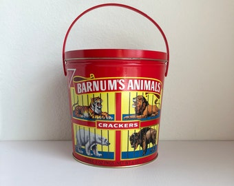 Vintage Nabisco 1991 Barnum's Animals Cookie Jar/ Old Red and Gold Circus Animals Tin