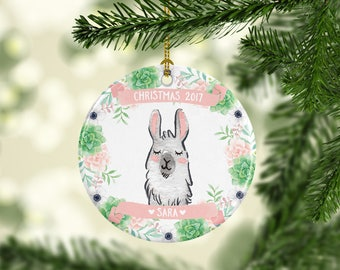 Girls Christmas Ornament for Kids Llama Christmas Ornament Llama Ornament Kids Christmas Ornament Christmas Ornament for Girls Cute Pink