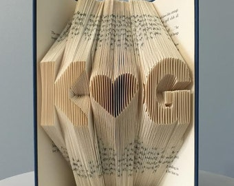 Anniversary Gift For Him - Custom Folded Book Art (2 initials + heart) - Personalized Romantic Gift for Husband for Boyfriend -Home Decor