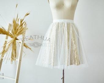 Ivory Tulle Skirt/Gold Sequin Skirt/Short Adult Women Tulle Skirt/TUTU Tulle Skirt/Wedding Bridal Bridesmaid Skirt/Knee Skirt/