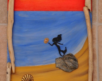 "Driftwood/pebble art. ""Mermaid Joy"" - sea/beach/mermaid/shell/sunset/sand/coast"