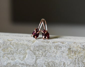 Garnet and Rose Gold Jewelry, French Ear Wires & Rough Garnet Gemstones, January Birthstone Jewelry, Family Heirloom French Drop Earrings