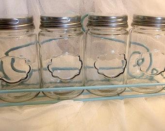 Storage jars // Wrought iron shelf with large jars // glass apothecary jar // glass candy jars // glass craft jars  (4 jars)
