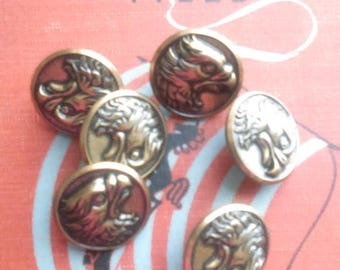 Set of 6 Vintage Eagle Head Buttons / Metal Shank Buttons/ Vintage Button Lots/ Steampunk Craft Supplies