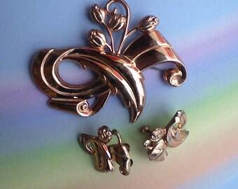 Vintage 40s Sterling Vermeil Rose Gold Pin Earrings