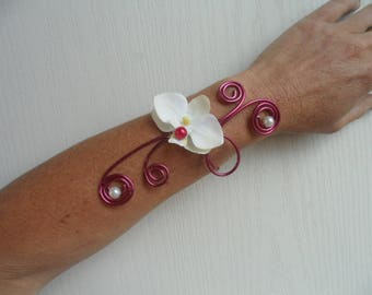 Bracelet with Orchid - ivory and Burgundy floral