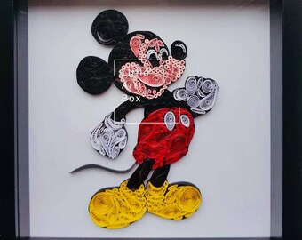 Handmade paper quilled Mickey Mouse