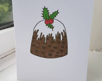 Homemade A6 Christmas Card featuring Christmas Figgy Pudding Drawing