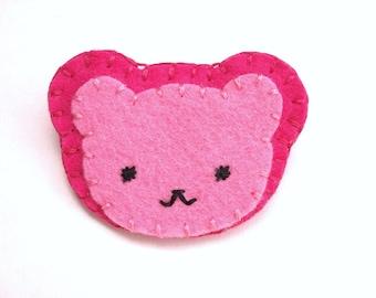 Pink bear pin, chibi pinback button, pink felt brooch, teddy bear brooch, broach