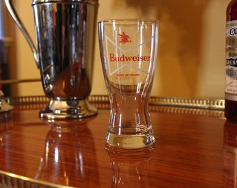 Budweiser Glass, Beer Glass, Anheuser Busch Glass, Bud Glass with Bow Tie For Your Man Cave
