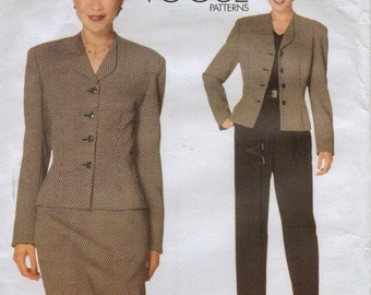 90s Anne Klein Womens Above Hip Jacket, Skirt & Pants Vogue Sewing Pattern 2047 Size 8 10 12 Bust 31 1/2 to 34 UnCut Vogue American Designer