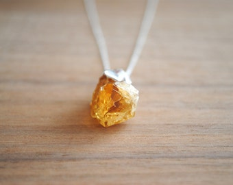 "Raw Citrine Gemstone Point Pendant - Silver Plated on 18"" Sterling Silver Chain, Orange Stone Necklace"