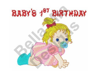 Baby Girl Crawling - Machine Embroidery Design, Baby's 1st Birthday