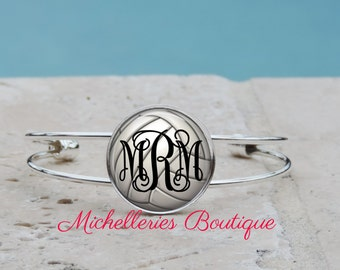 Monogram Volleyball Adjustable Cuff Bangle, Monogram Bracelet, Monogram Jewelry, Monogram Accessories,Volleyball Jewelry,Personalized, MB326