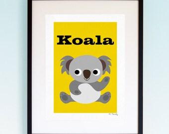 Koala, Wildlife, Poster, Wall Art, Childrens, Nursery Print, Boys Girls Room Decor, Animal, Playroom, Native, Fauna, Australia, A4, A3
