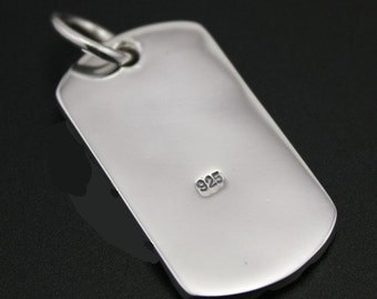 Sterling silver plated Dog tag (925 silver)